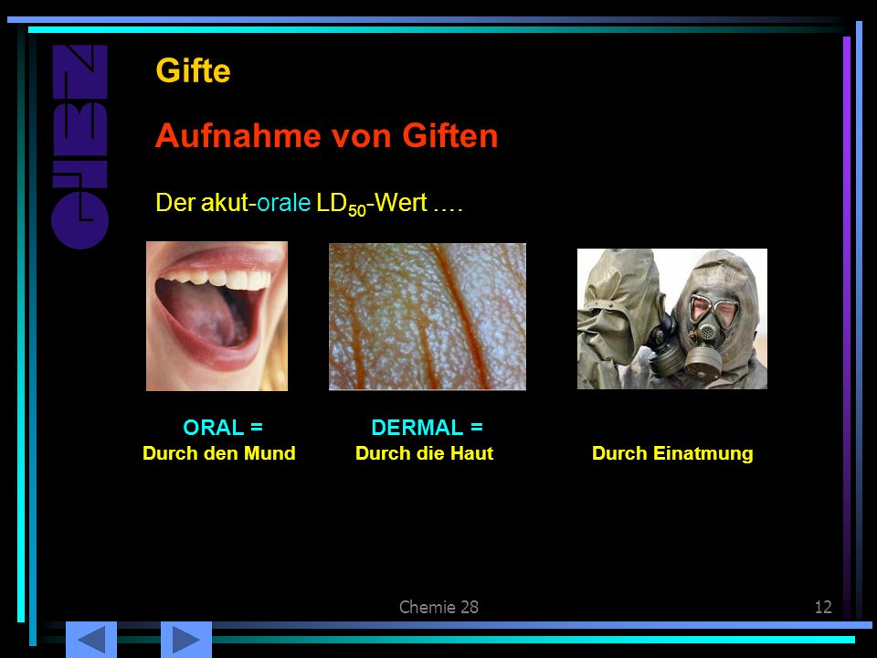 Gifte Aufnahme von Giften Der akut-orale LD50-Wert …. ORAL = DERMAL =