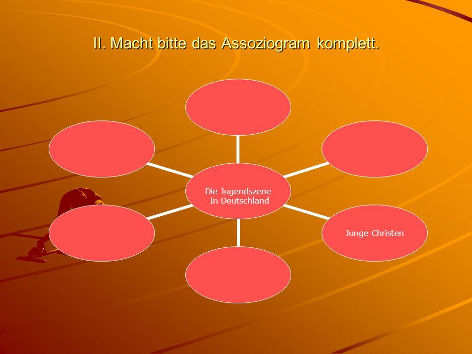 II. Macht bitte das Assoziogram komplett.