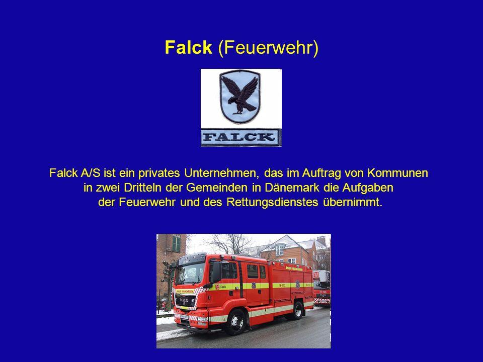 Falck (Feuerwehr)Falck A/S ist ein privates Unternehmen, das im Auftrag von Kommunen. in zwei Dritteln der Gemeinden in Dänemark die Aufgaben.