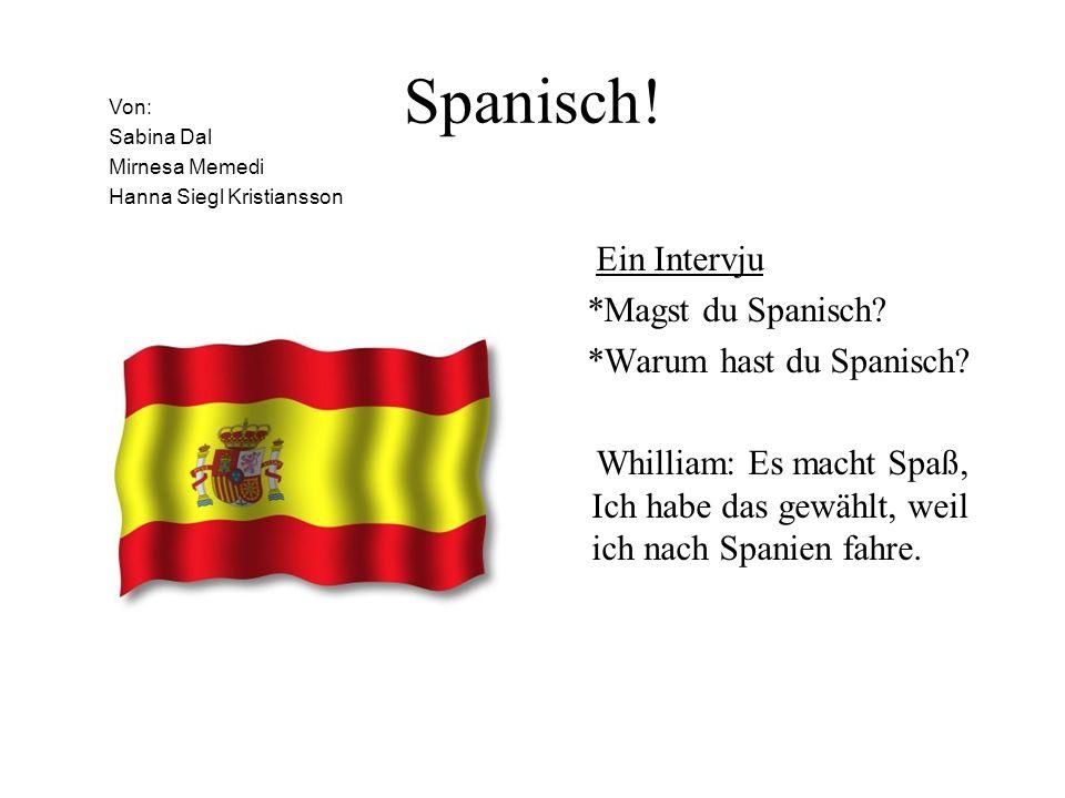 Spanisch! Ein Intervju *Magst du Spanisch *Warum hast du Spanisch