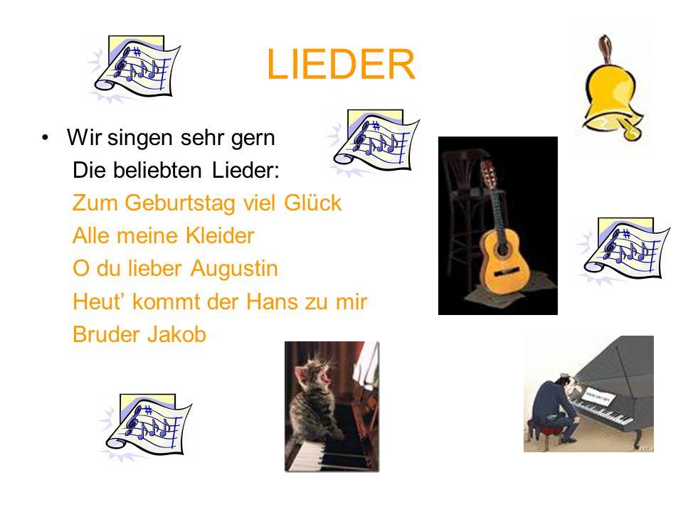 LIEDER Wir singen sehr gern Die beliebten Lieder: