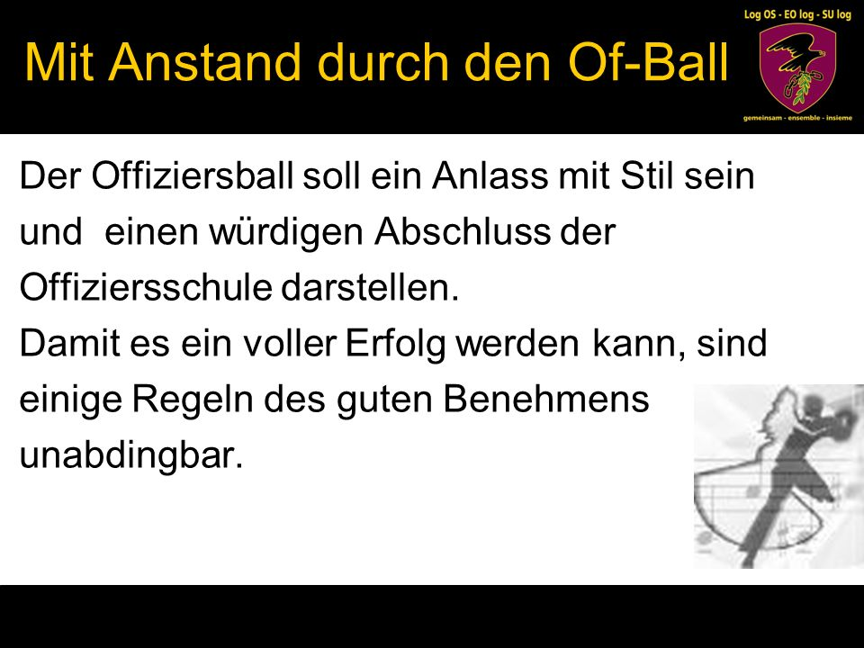Mit Anstand durch den Of-Ball
