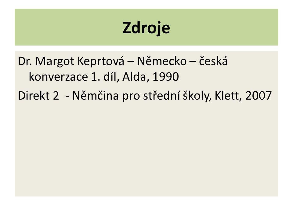Zdroje Dr. Margot Keprtová – Německo – česká konverzace 1.