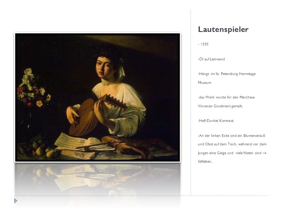 Lautenspieler 1595 Öl auf Leinwand
