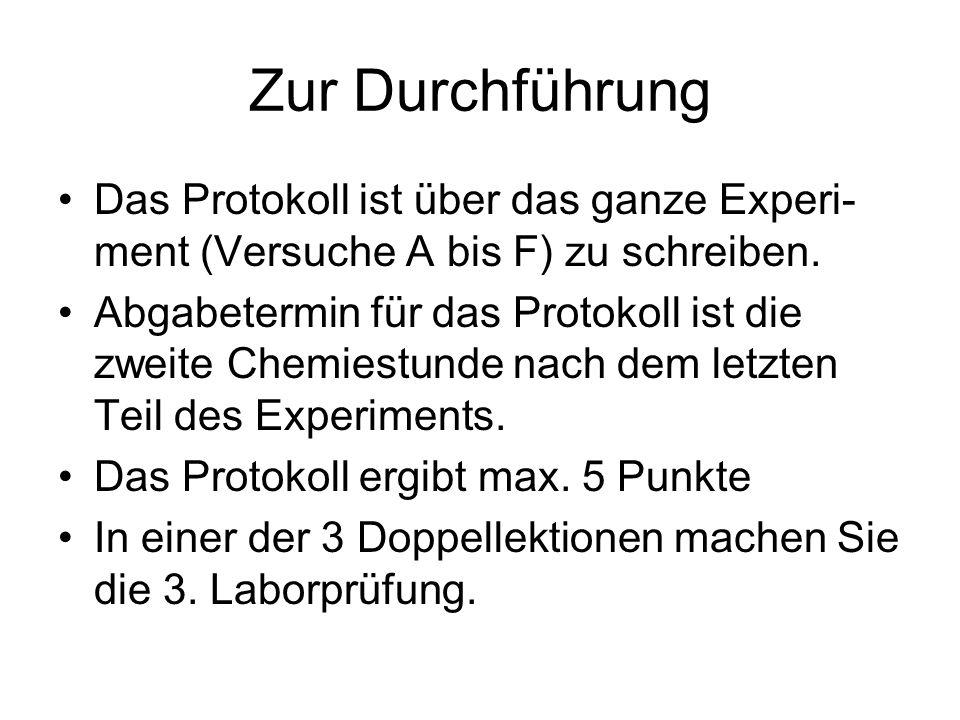 Zur DurchführungDas Protokoll ist über das ganze Experi-ment (Versuche A bis F) zu schreiben.