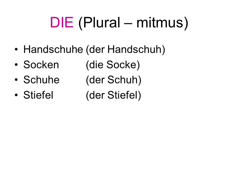 DIE (Plural – mitmus) Handschuhe (der Handschuh) Socken (die Socke)