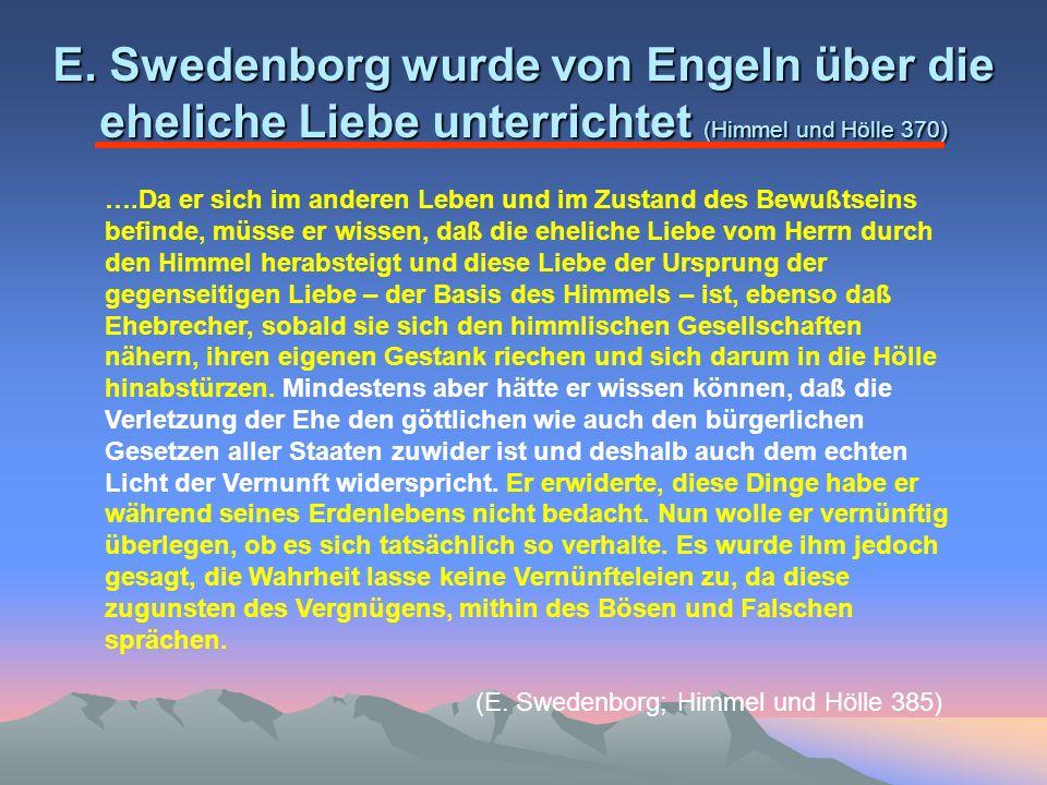 E. Swedenborg wurde von Engeln über die eheliche Liebe unterrichtet (Himmel und Hölle 370)