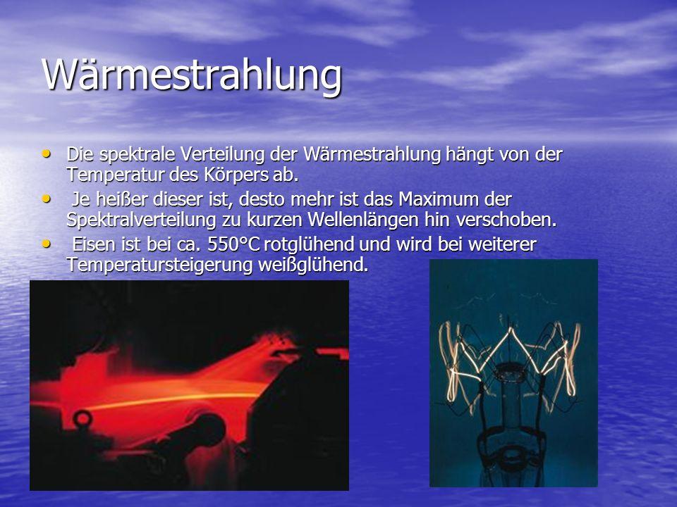 Wärmestrahlung Die spektrale Verteilung der Wärmestrahlung hängt von der Temperatur des Körpers ab.
