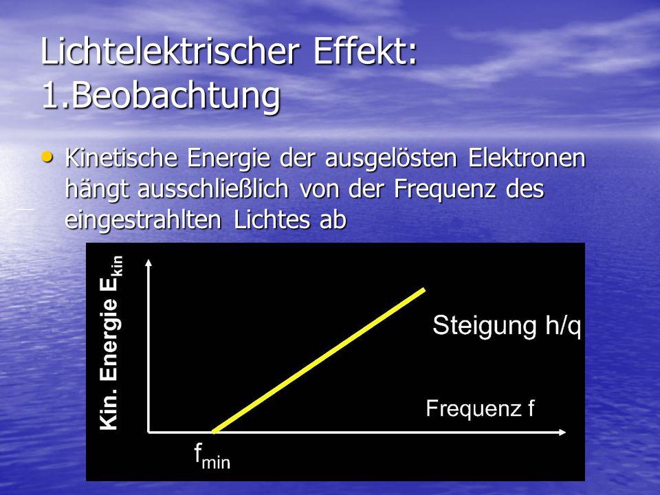 Lichtelektrischer Effekt: 1.Beobachtung