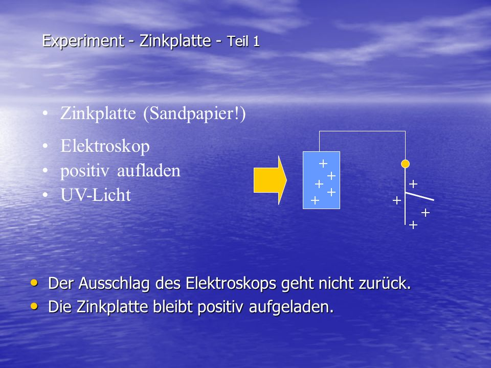 Experiment - Zinkplatte - Teil 1