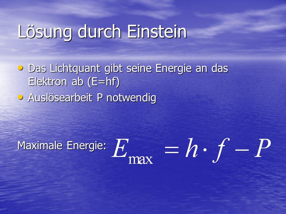 Lösung durch Einstein Das Lichtquant gibt seine Energie an das Elektron ab (E=hf) Auslösearbeit P notwendig.