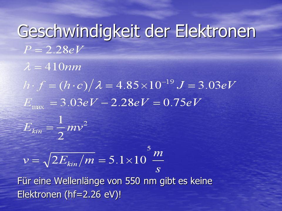 Geschwindigkeit der Elektronen