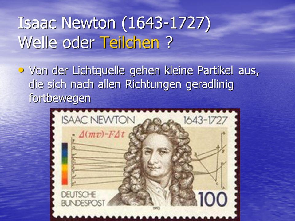 Isaac Newton (1643-1727) Welle oder Teilchen