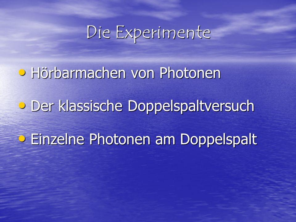Die Experimente Hörbarmachen von Photonen