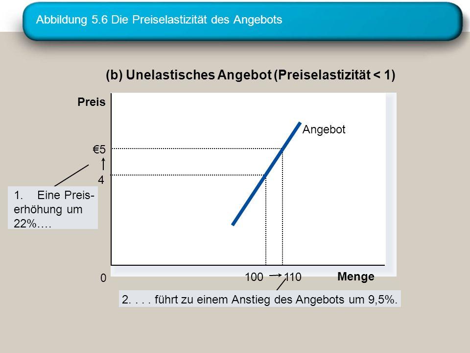 Abbildung 5.6 Die Preiselastizität des Angebots