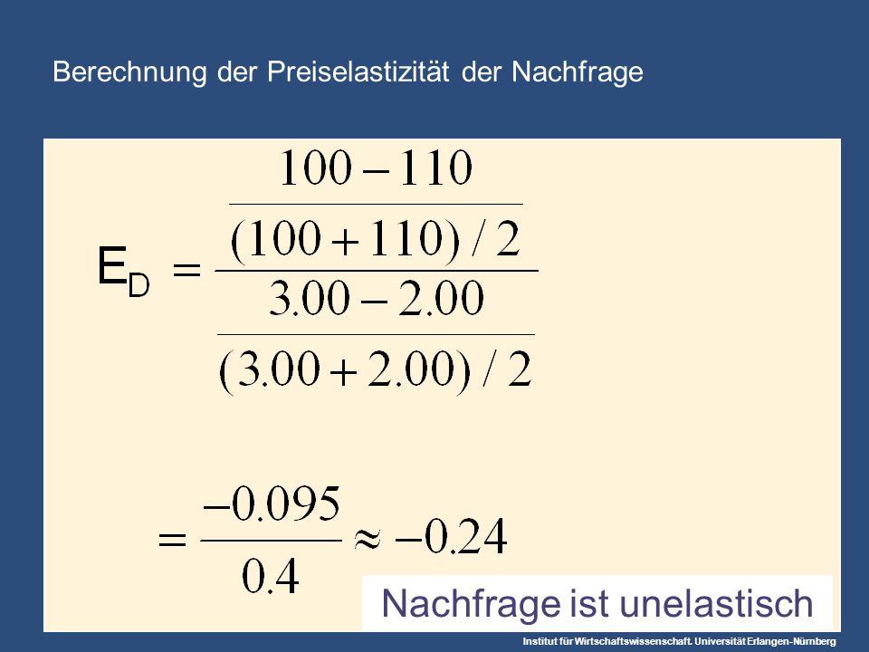 Berechnung der Preiselastizität der Nachfrage