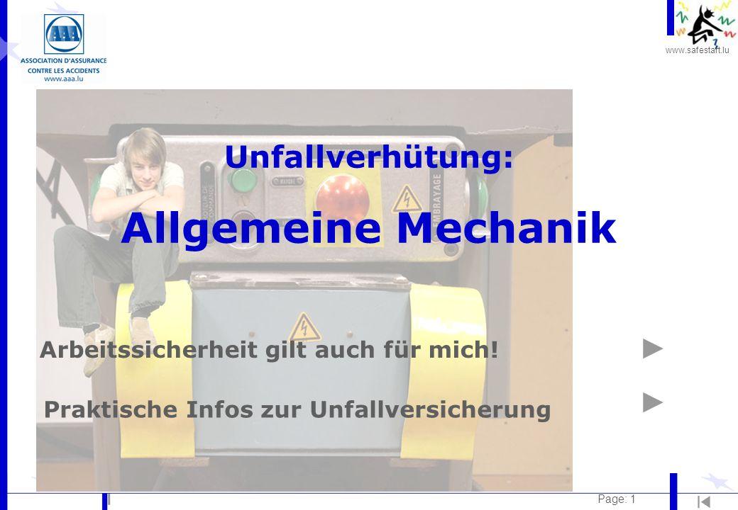 Unfallverhütung: Allgemeine Mechanik