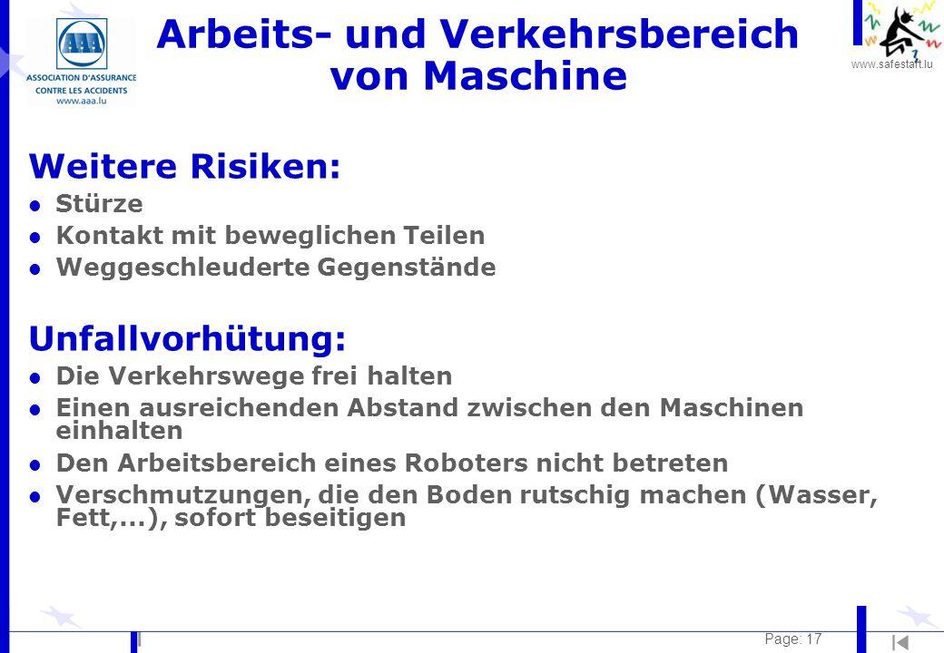 Arbeits- und Verkehrsbereich von Maschine
