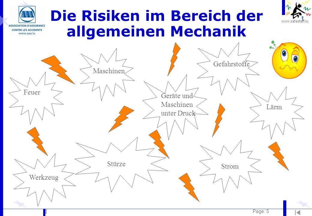 Die Risiken im Bereich der allgemeinen Mechanik