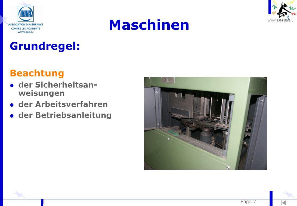 Maschinen Grundregel: Beachtung der Sicherheitsan-weisungen