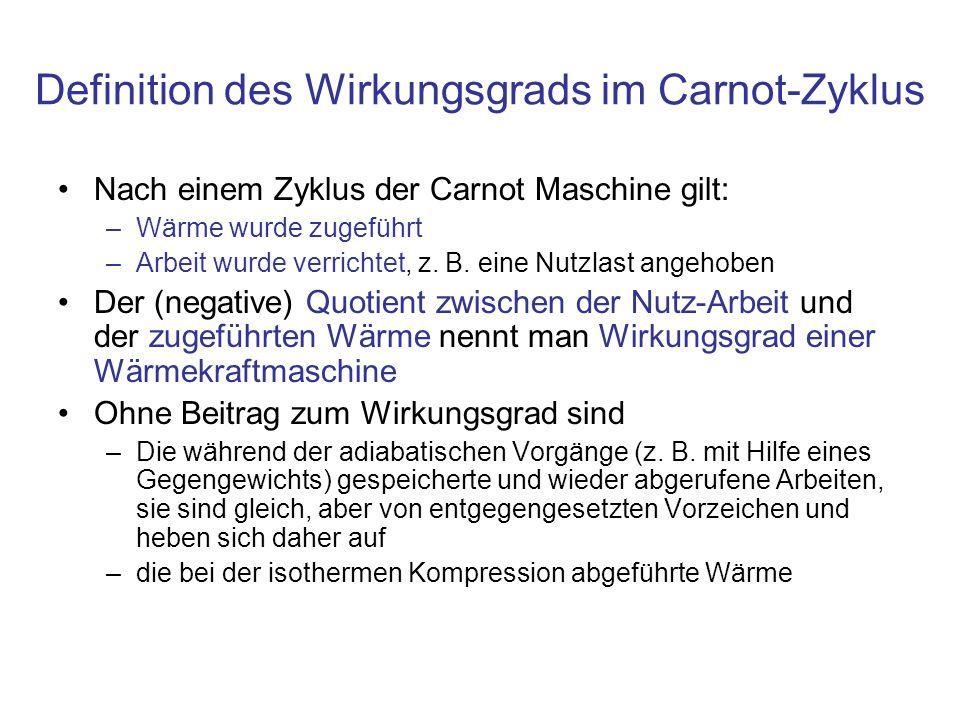 Definition des Wirkungsgrads im Carnot-Zyklus