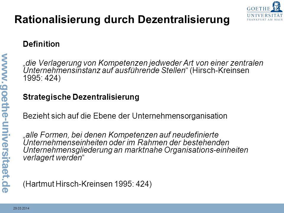 Rationalisierung durch Dezentralisierung