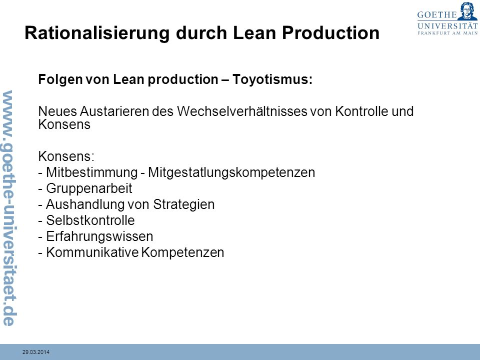Rationalisierung durch Lean Production