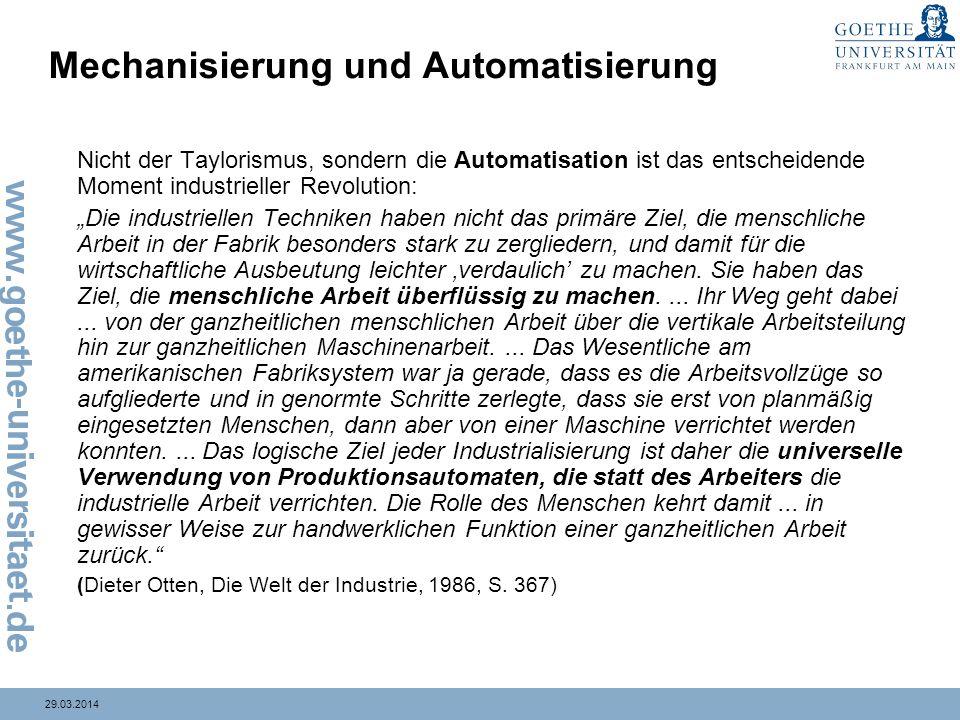 Mechanisierung und Automatisierung