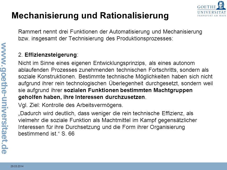 Mechanisierung und Rationalisierung