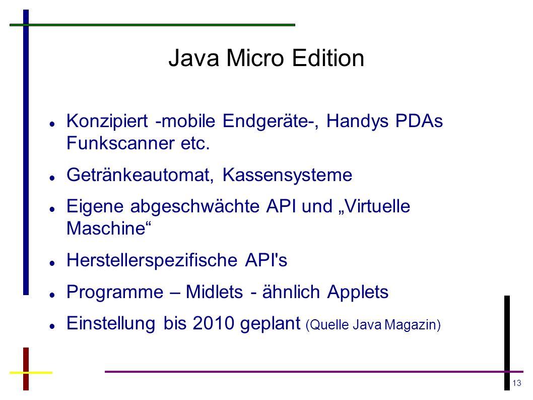 Java Micro Edition Konzipiert -mobile Endgeräte-, Handys PDAs Funkscanner etc. Getränkeautomat, Kassensysteme.