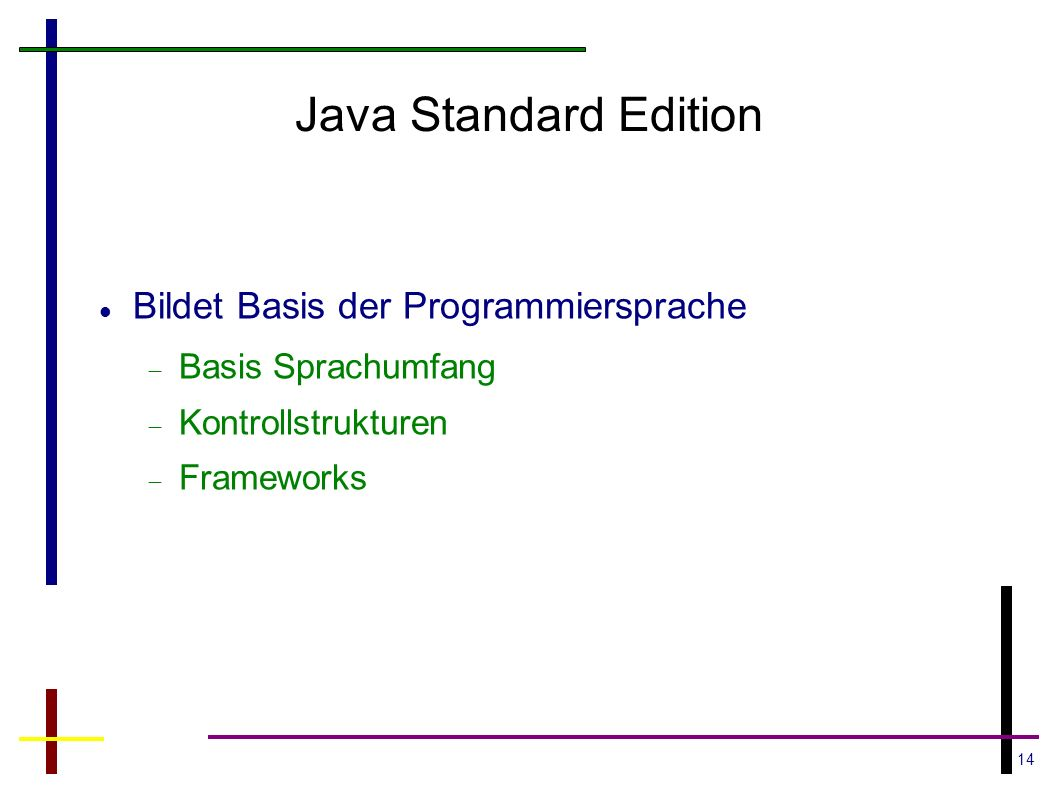 Java Standard Edition Bildet Basis der Programmiersprache