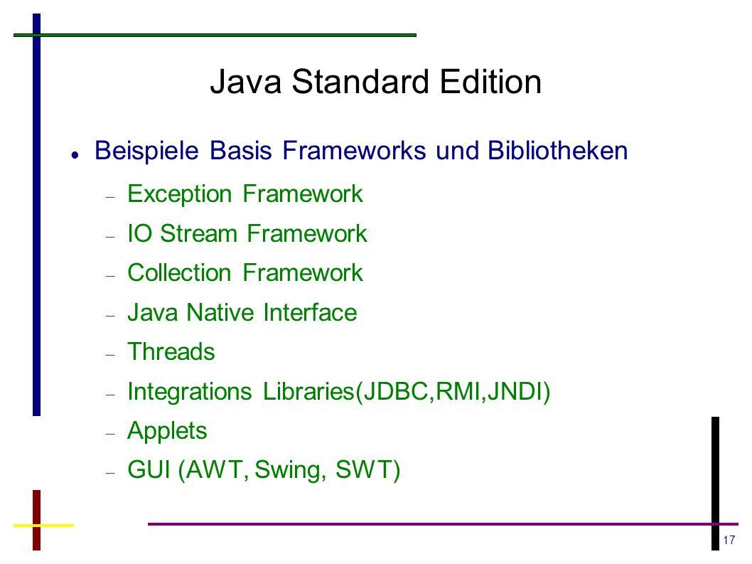 Java Standard Edition Beispiele Basis Frameworks und Bibliotheken
