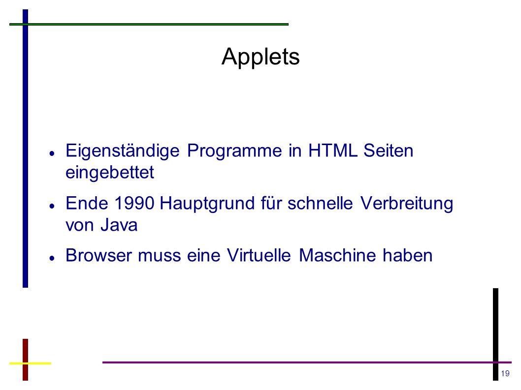 Applets Eigenständige Programme in HTML Seiten eingebettet