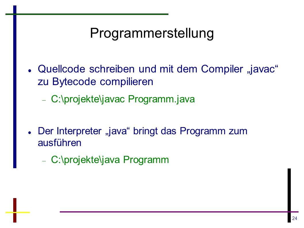 """Programmerstellung Quellcode schreiben und mit dem Compiler """"javac zu Bytecode compilieren. C:\projekte\javac Programm.java."""