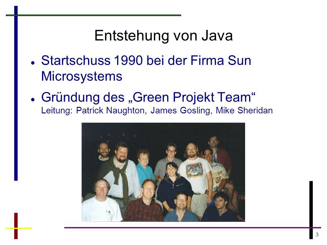 Entstehung von Java Startschuss 1990 bei der Firma Sun Microsystems
