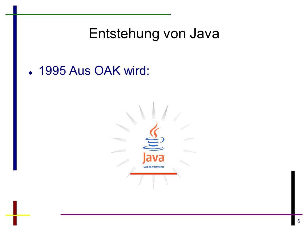 Entstehung von Java 1995 Aus OAK wird: