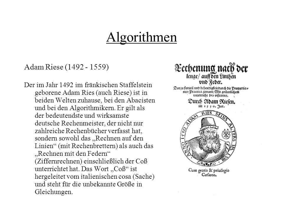 Algorithmen Adam Riese (1492 - 1559)