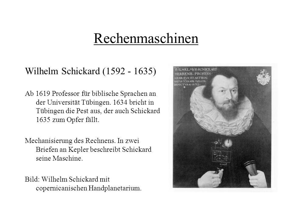 Rechenmaschinen Wilhelm Schickard (1592 - 1635)