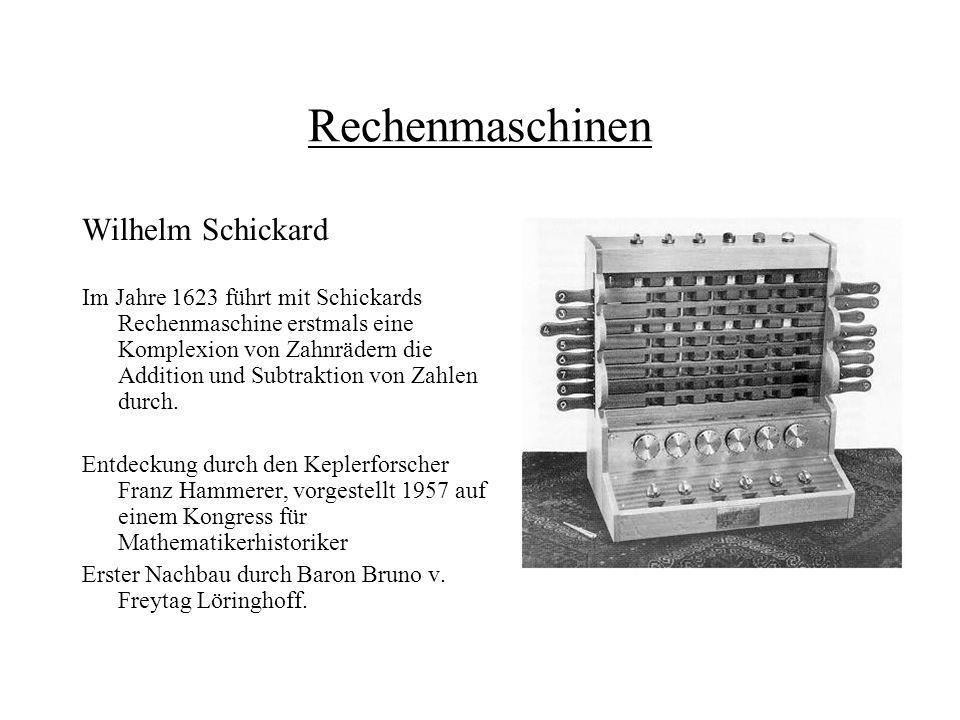 Rechenmaschinen Wilhelm Schickard