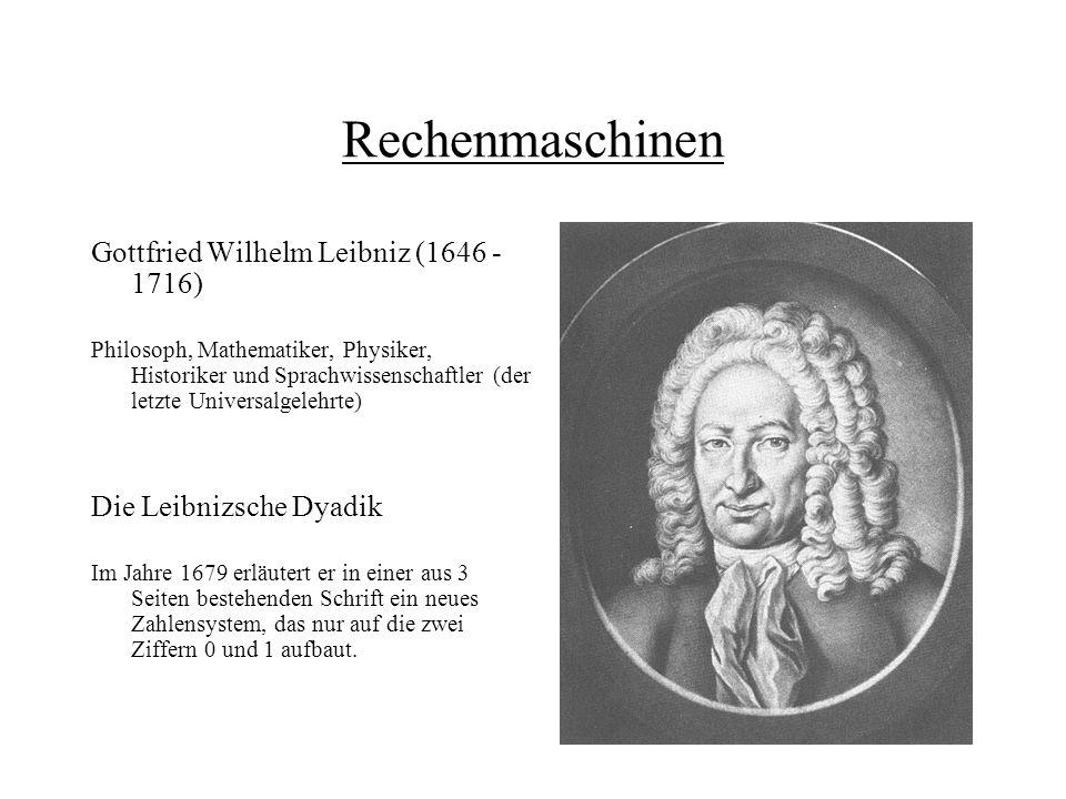Rechenmaschinen Gottfried Wilhelm Leibniz (1646 - 1716)