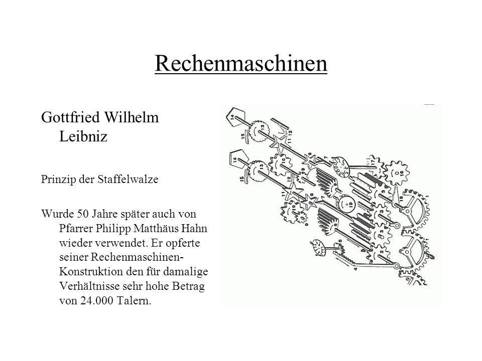 Rechenmaschinen Gottfried Wilhelm Leibniz Prinzip der Staffelwalze