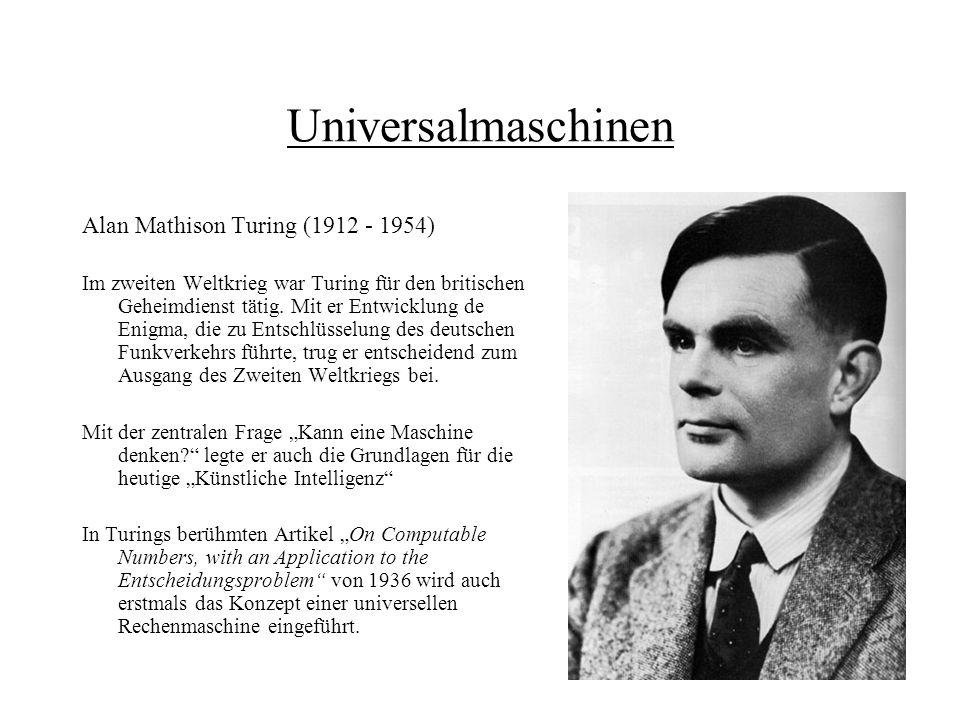 Universalmaschinen Alan Mathison Turing (1912 - 1954)