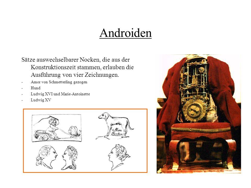 Androiden Sätze auswechselbarer Nocken, die aus der Konstruktionszeit stammen, erlauben die Ausführung von vier Zeichnungen.