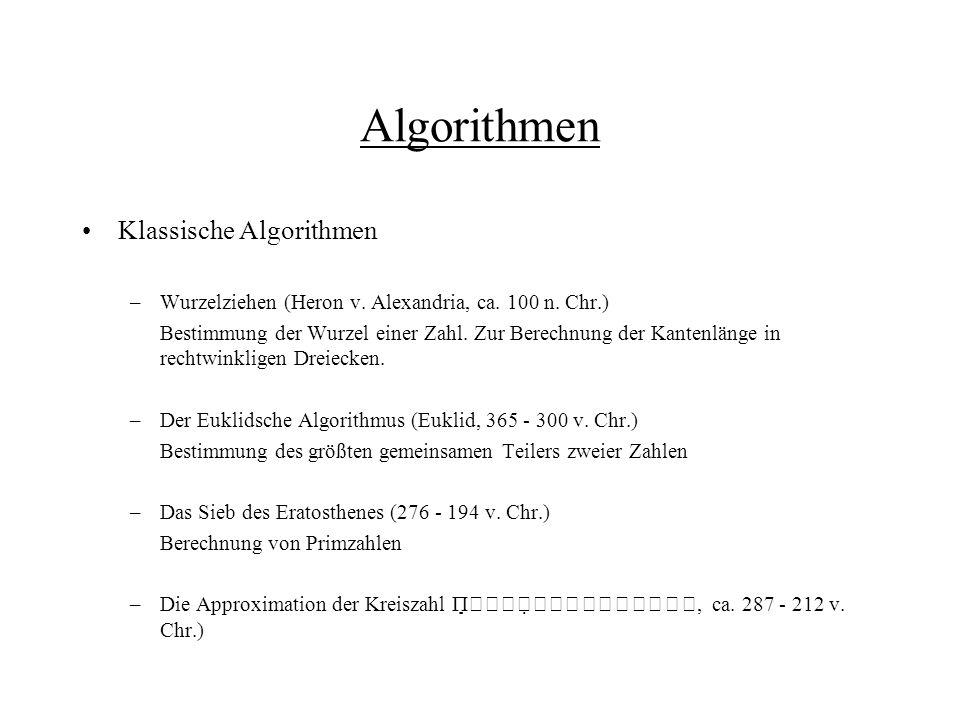 Algorithmen Klassische Algorithmen
