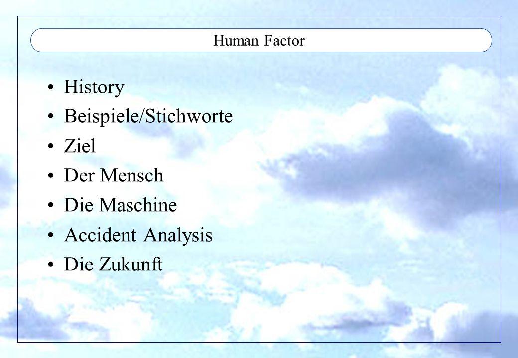 Beispiele/Stichworte Ziel Der Mensch Die Maschine Accident Analysis