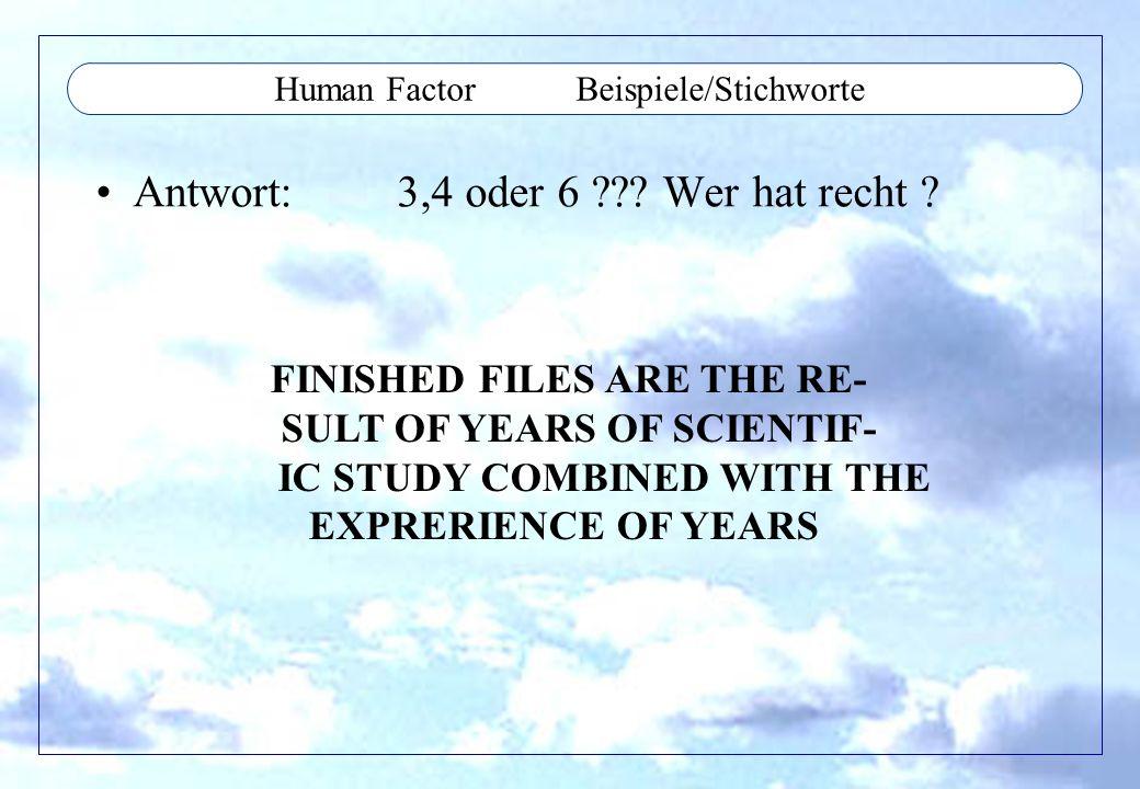 Human Factor Beispiele/Stichworte