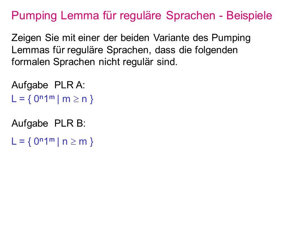 Pumping Lemma für reguläre Sprachen - Beispiele