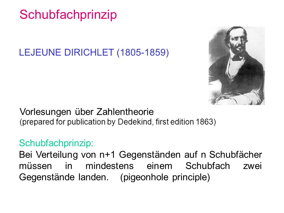 Schubfachprinzip LEJEUNE DIRICHLET (1805-1859)