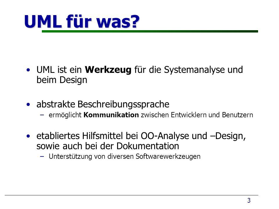 UML für was UML ist ein Werkzeug für die Systemanalyse und beim Design. abstrakte Beschreibungssprache.