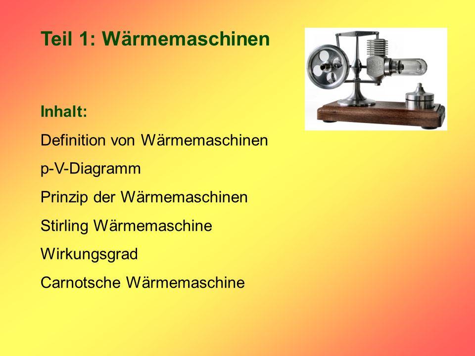 Teil 1: Wärmemaschinen Inhalt: Definition von Wärmemaschinen
